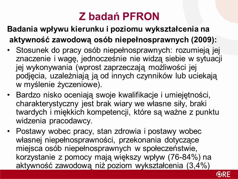 Z badań PFRON Badania wpływu kierunku i poziomu wykształcenia na aktywność zawodową osób niepełnosprawnych (2009): Stosunek do pracy osób niepełnospra
