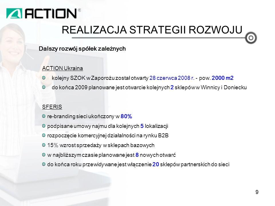 Dalszy rozwój spółek zależnych ACTION Ukraina kolejny SZOK w Zaporożu został otwarty 28 czerwca 2008 r.