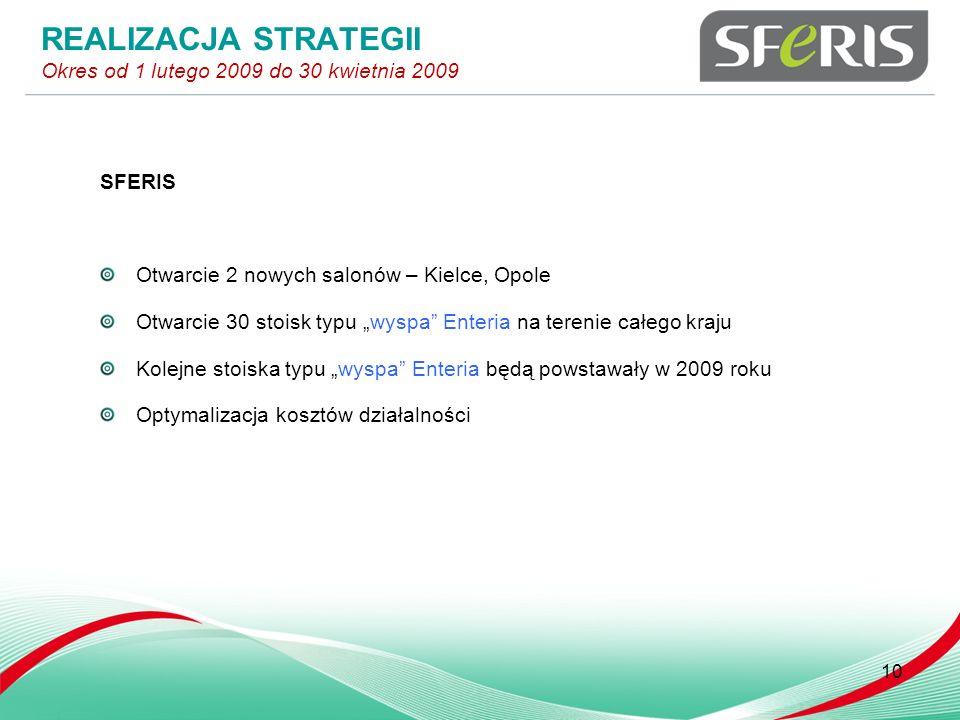 SFERIS Otwarcie 2 nowych salonów – Kielce, Opole Otwarcie 30 stoisk typu wyspa Enteria na terenie całego kraju Kolejne stoiska typu wyspa Enteria będą powstawały w 2009 roku Optymalizacja kosztów działalności 10 REALIZACJA STRATEGII Okres od 1 lutego 2009 do 30 kwietnia 2009