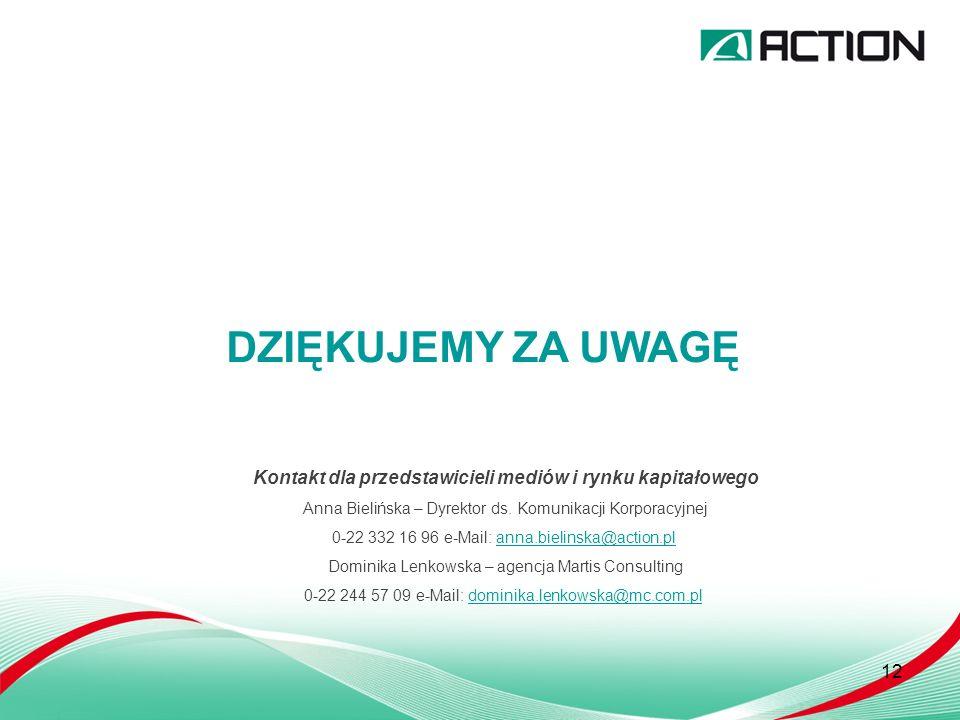 12 DZIĘKUJEMY ZA UWAGĘ Kontakt dla przedstawicieli mediów i rynku kapitałowego Anna Bielińska – Dyrektor ds.
