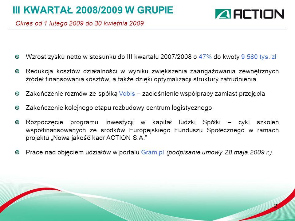 Wzrost zysku netto w stosunku do III kwartału 2007/2008 o 47% do kwoty 9 580 tys.