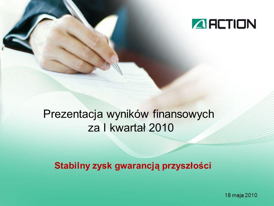 Prezentacja wyników finansowych za I kwartał 2010 18 maja 2010 Stabilny zysk gwarancją przyszłości