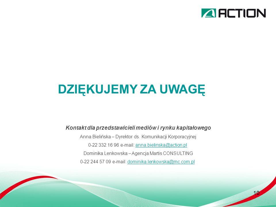 10 DZIĘKUJEMY ZA UWAGĘ Kontakt dla przedstawicieli mediów i rynku kapitałowego Anna Bielińska – Dyrektor ds.