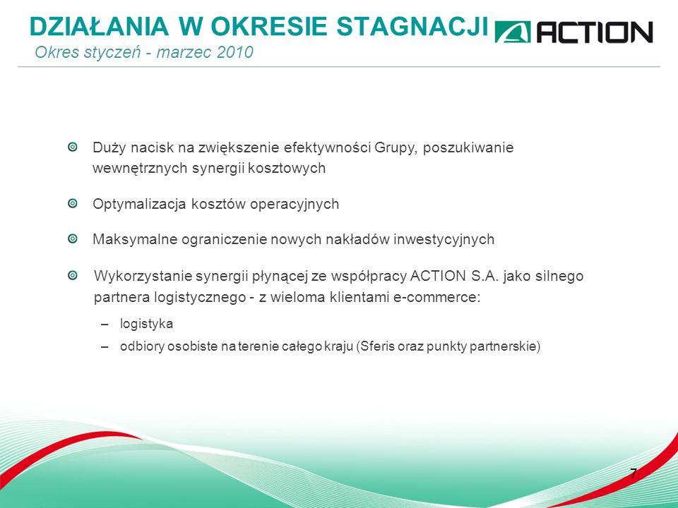 Duży nacisk na zwiększenie efektywności Grupy, poszukiwanie wewnętrznych synergii kosztowych Optymalizacja kosztów operacyjnych Maksymalne ograniczenie nowych nakładów inwestycyjnych Wykorzystanie synergii płynącej ze współpracy ACTION S.A.