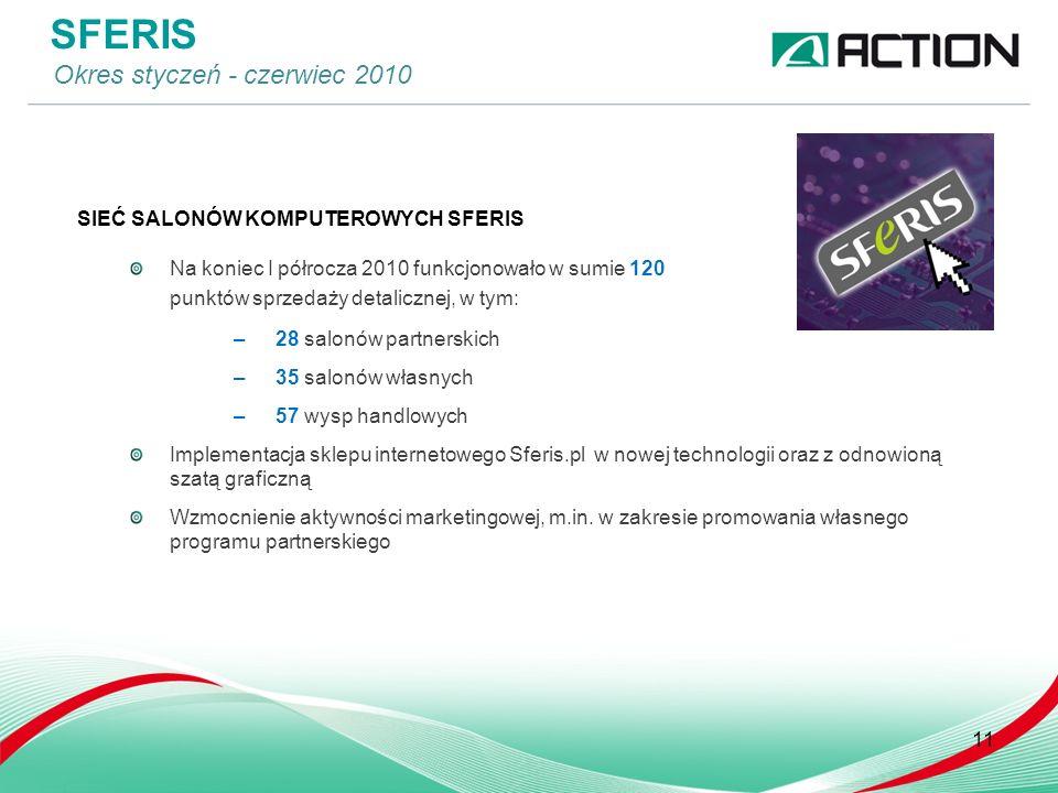 SIEĆ SALONÓW KOMPUTEROWYCH SFERIS Na koniec I półrocza 2010 funkcjonowało w sumie 120 punktów sprzedaży detalicznej, w tym: –28 salonów partnerskich –35 salonów własnych –57 wysp handlowych Implementacja sklepu internetowego Sferis.pl w nowej technologii oraz z odnowioną szatą graficzną Wzmocnienie aktywności marketingowej, m.in.