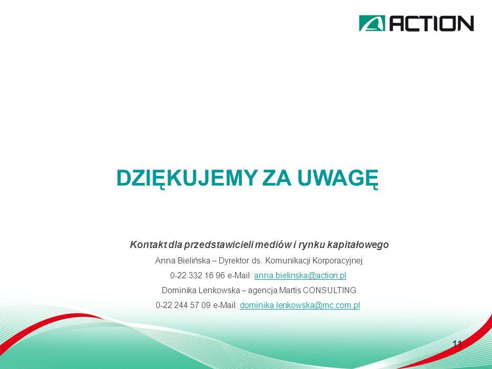 11 DZIĘKUJEMY ZA UWAGĘ Kontakt dla przedstawicieli mediów i rynku kapitałowego Anna Bielińska – Dyrektor ds.