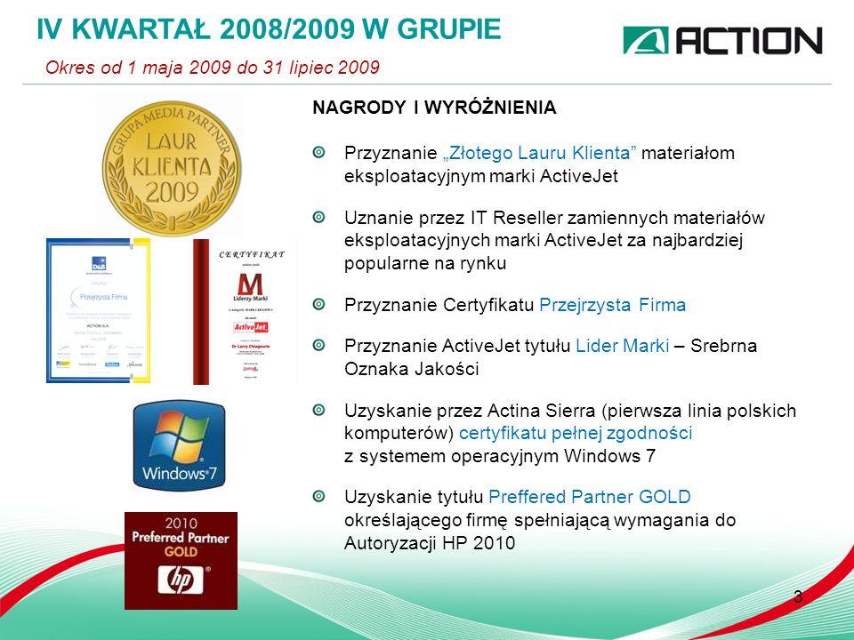 3 NAGRODY I WYRÓŻNIENIA Przyznanie Złotego Lauru Klienta materiałom eksploatacyjnym marki ActiveJet Uznanie przez IT Reseller zamiennych materiałów ek