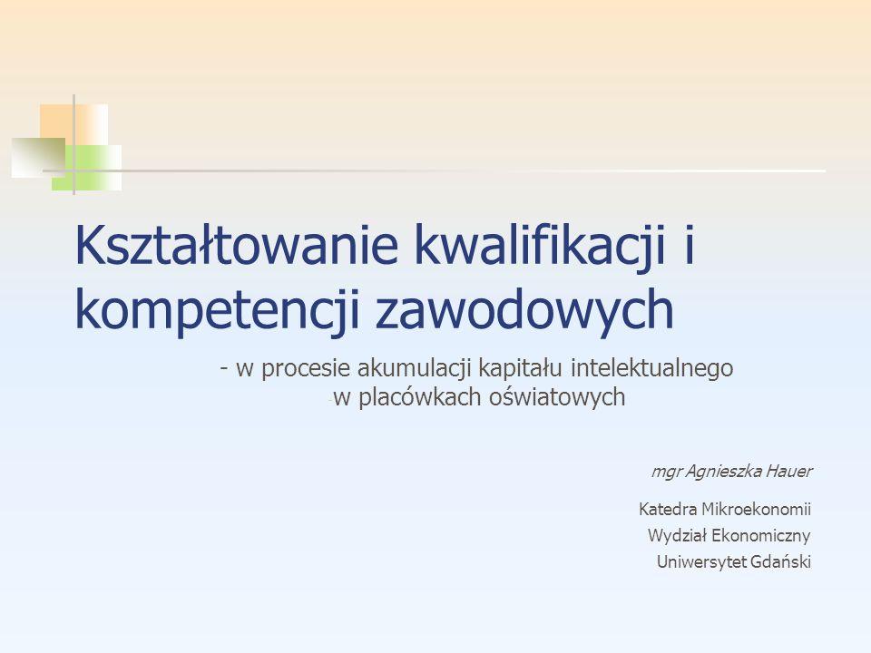 Kształtowanie kwalifikacji i kompetencji zawodowych - w procesie akumulacji kapitału intelektualnego - w placówkach oświatowych mgr Agnieszka Hauer Ka