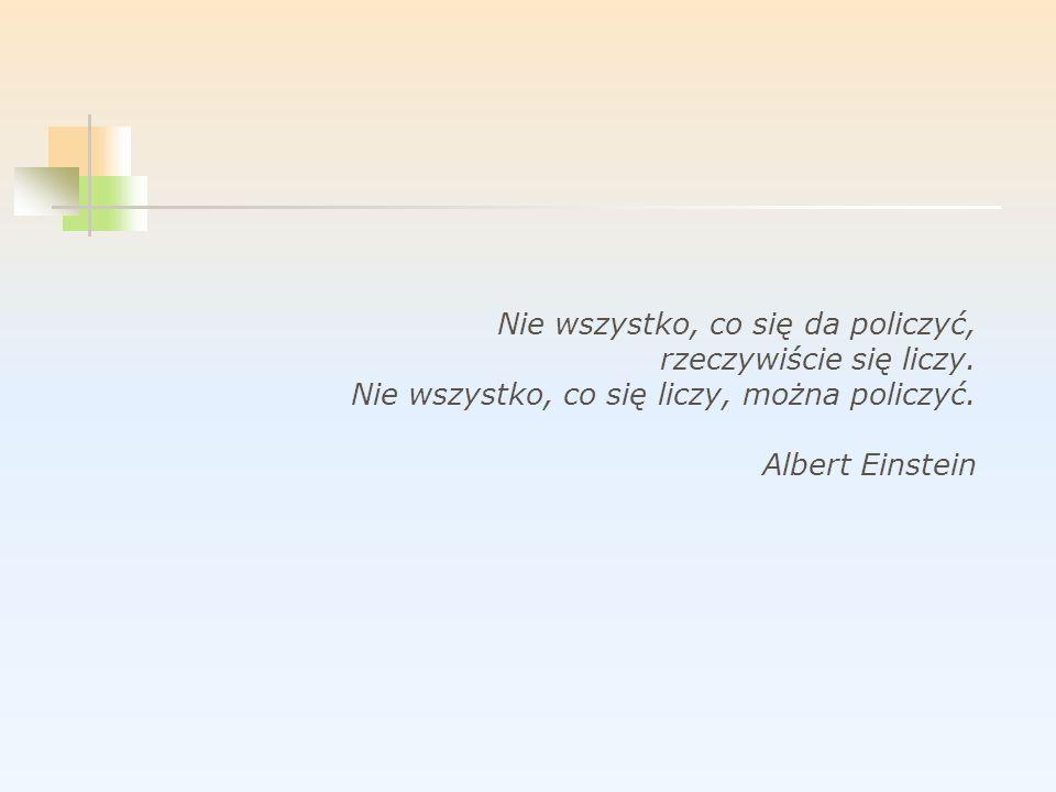 Nie wszystko, co się da policzyć, rzeczywiście się liczy. Nie wszystko, co się liczy, można policzyć. Albert Einstein