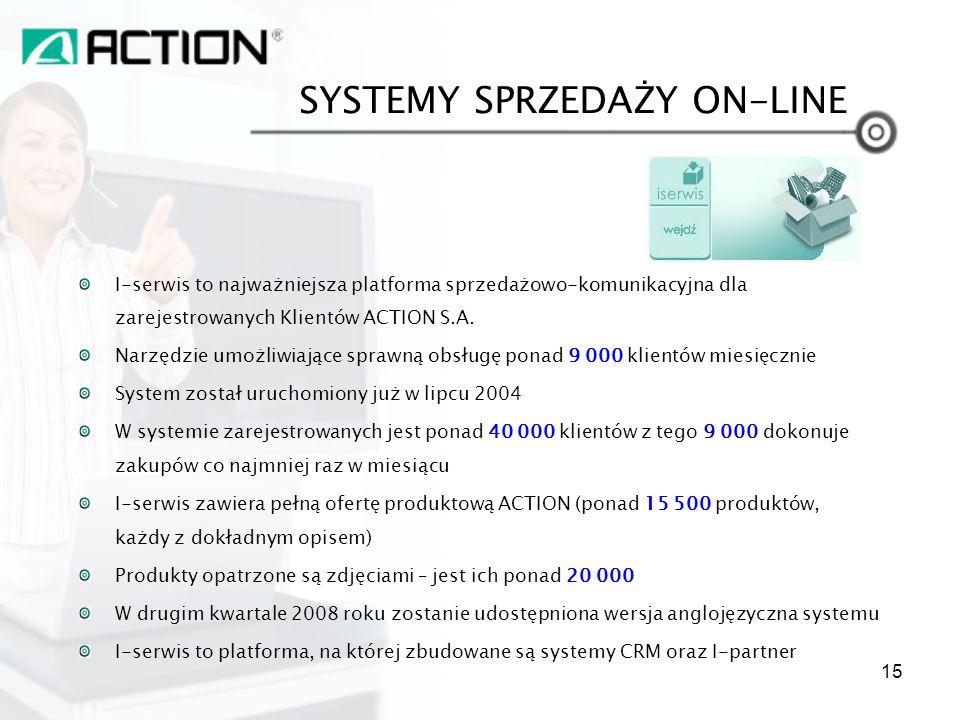 SYSTEMY SPRZEDAŻY ON-LINE I-serwis to najważniejsza platforma sprzedażowo-komunikacyjna dla zarejestrowanych Klientów ACTION S.A. Narzędzie umożliwiaj