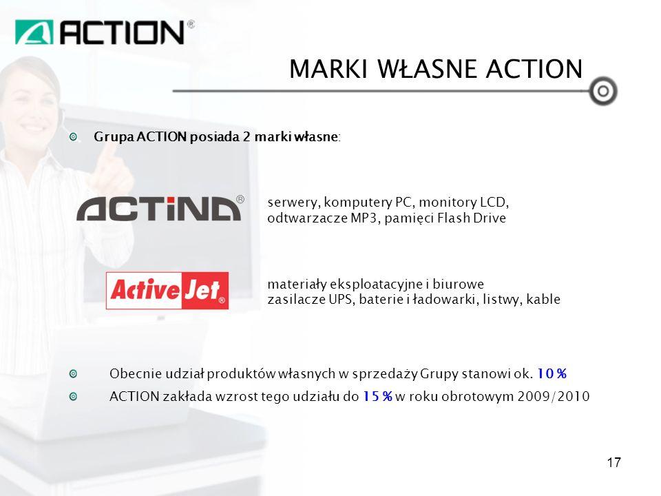 Grupa ACTION posiada 2 marki własne: serwery, komputery PC, monitory LCD, odtwarzacze MP3, pamięci Flash Drive materiały eksploatacyjne i biurowe zasi