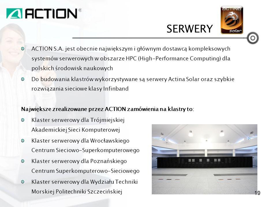 SERWERY ACTION S.A. jest obecnie największym i głównym dostawcą kompleksowych systemów serwerowych w obszarze HPC (High-Performance Computing) dla pol