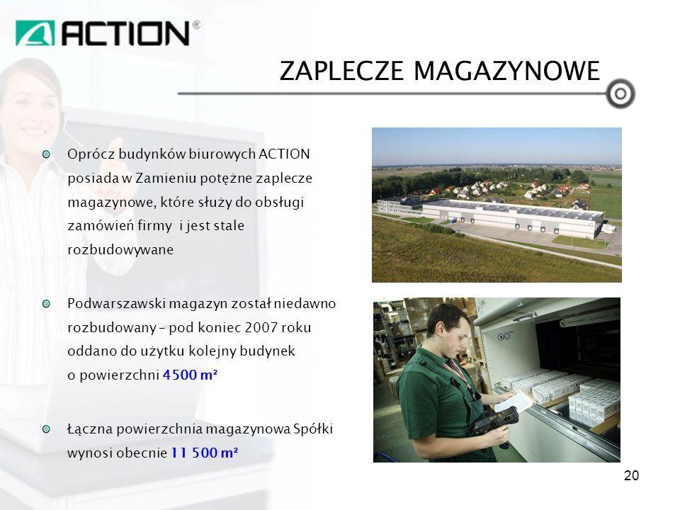 Oprócz budynków biurowych ACTION posiada w Zamieniu potężne zaplecze magazynowe, które służy do obsługi zamówień firmy i jest stale rozbudowywane Podw