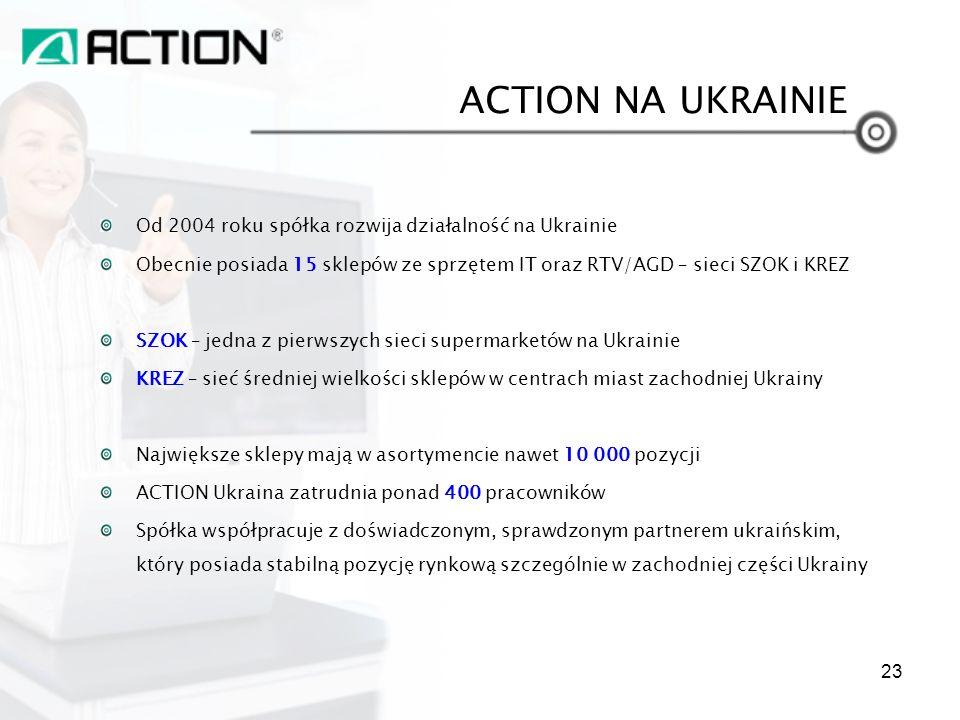Od 2004 roku spółka rozwija działalność na Ukrainie Obecnie posiada 15 sklepów ze sprzętem IT oraz RTV/AGD – sieci SZOK i KREZ SZOK – jedna z pierwszy