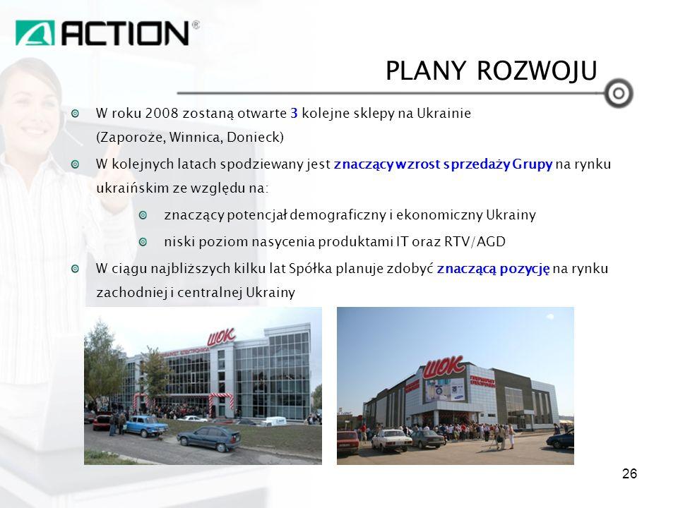 W roku 2008 zostaną otwarte 3 kolejne sklepy na Ukrainie (Zaporoże, Winnica, Donieck) W kolejnych latach spodziewany jest znaczący wzrost sprzedaży Gr
