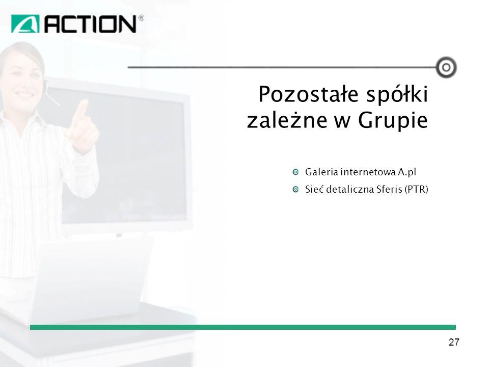 Pozostałe spółki zależne w Grupie Galeria internetowa A.pl Sieć detaliczna Sferis (PTR) 27
