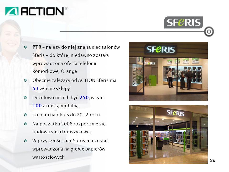 PTR - należy do niej znana sieć salonów Sferis - do której niedawno została wprowadzona oferta telefonii komórkowej Orange Obecnie zależący od ACTION