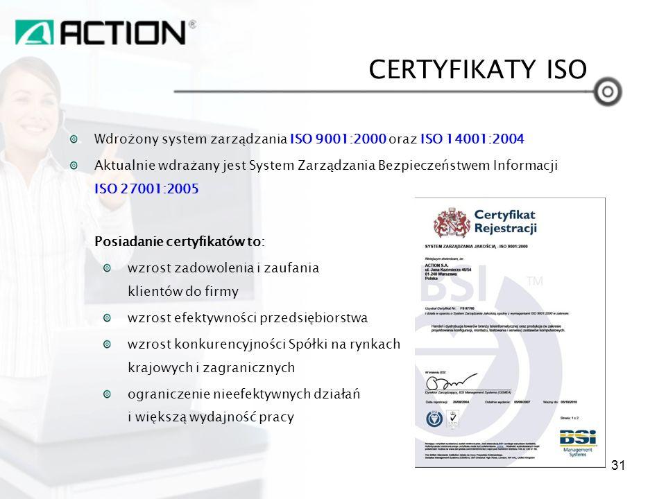 Wdrożony system zarządzania ISO 9001:2000 oraz ISO 14001:2004 Aktualnie wdrażany jest System Zarządzania Bezpieczeństwem Informacji ISO 27001:2005 Pos