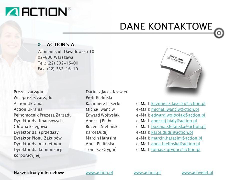 ACTION S.A. Zamienie, ul. Dawidowska 10 02-800 Warszawa Tel.: (22) 332-16-00 Fax: (22) 332-16-10 Prezes zarządu Dariusz Jacek Krawiec Wiceprezes zarzą