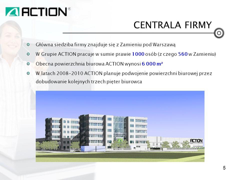 Główna siedziba firmy znajduje się z Zamieniu pod Warszawą W Grupie ACTION pracuje w sumie prawie 1000 osób (z czego 560 w Zamieniu) Obecna powierzchn