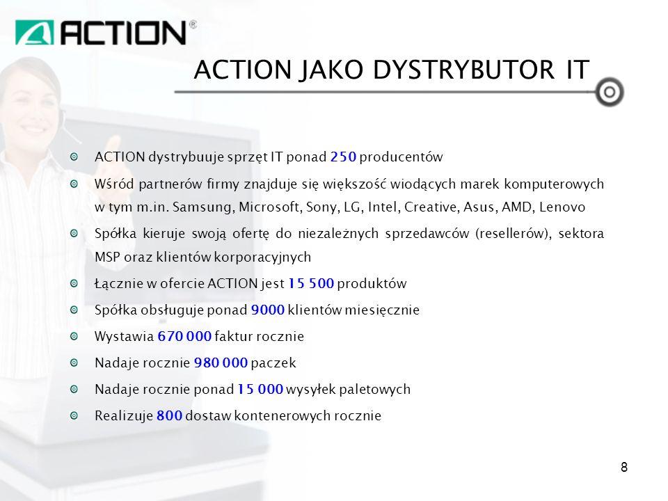 ACTION dystrybuuje sprzęt IT ponad 250 producentów Wśród partnerów firmy znajduje się większość wiodących marek komputerowych w tym m.in. Samsung, Mic