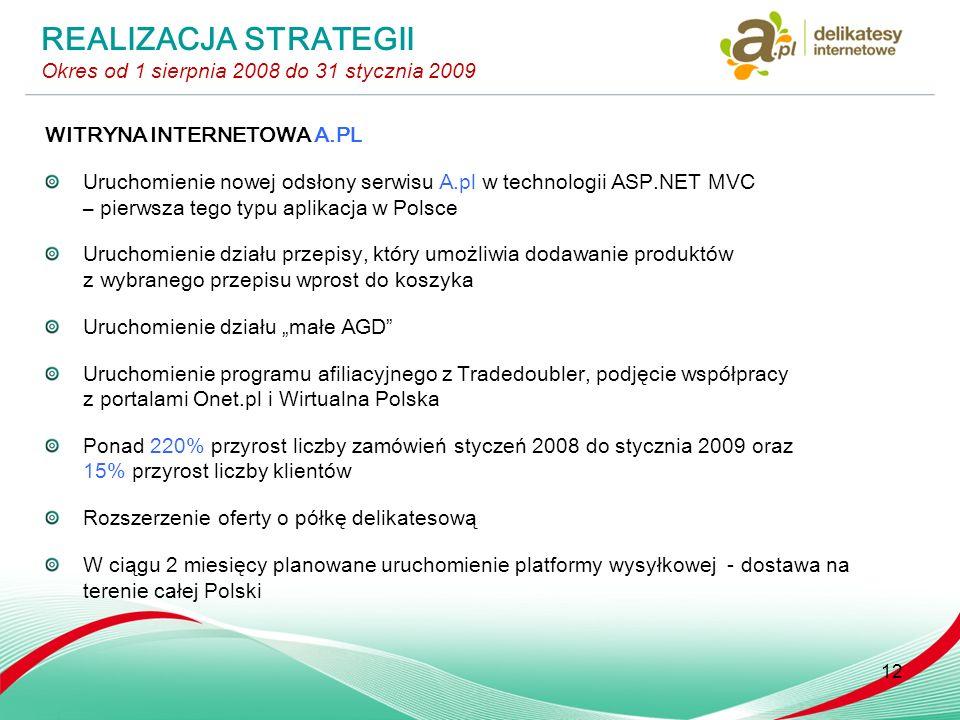 WITRYNA INTERNETOWA A.PL Uruchomienie nowej odsłony serwisu A.pl w technologii ASP.NET MVC – pierwsza tego typu aplikacja w Polsce Uruchomienie działu przepisy, który umożliwia dodawanie produktów z wybranego przepisu wprost do koszyka Uruchomienie działu małe AGD Uruchomienie programu afiliacyjnego z Tradedoubler, podjęcie współpracy z portalami Onet.pl i Wirtualna Polska Ponad 220% przyrost liczby zamówień styczeń 2008 do stycznia 2009 oraz 15% przyrost liczby klientów Rozszerzenie oferty o półkę delikatesową W ciągu 2 miesięcy planowane uruchomienie platformy wysyłkowej - dostawa na terenie całej Polski 12 REALIZACJA STRATEGII Okres od 1 sierpnia 2008 do 31 stycznia 2009