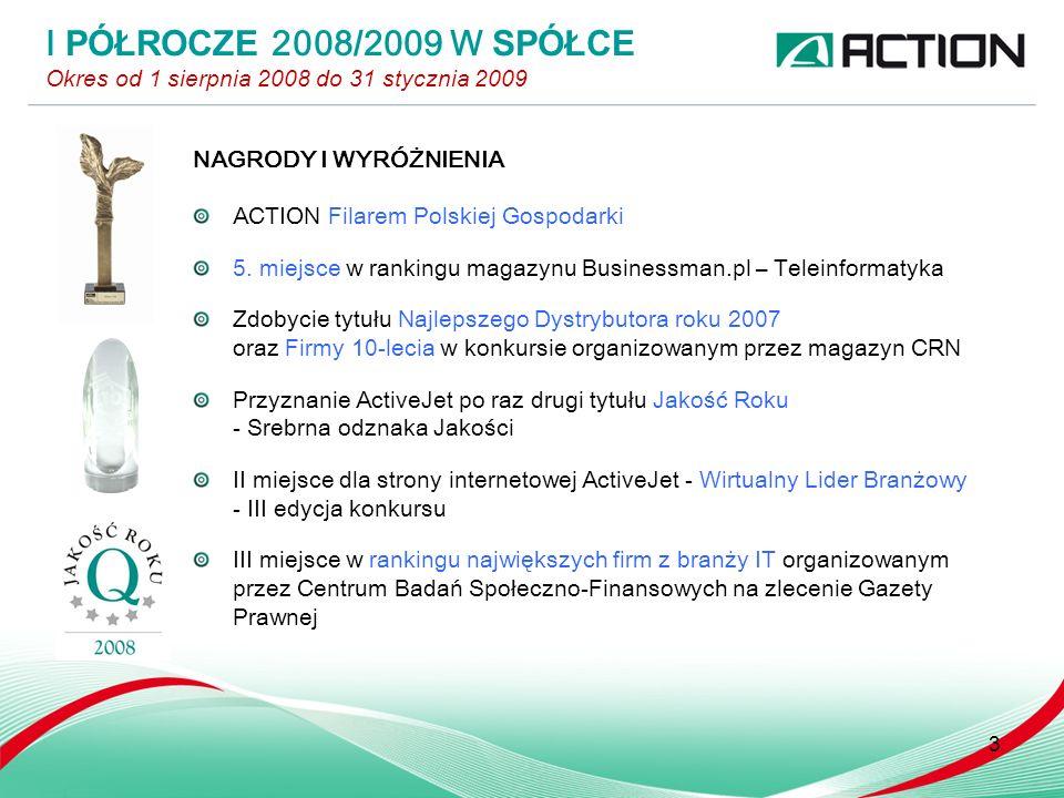3 NAGRODY I WYRÓŻNIENIA ACTION Filarem Polskiej Gospodarki 5.