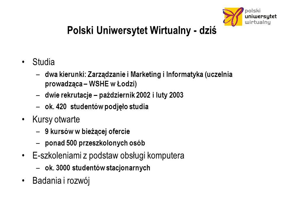 Polski Uniwersytet Wirtualny - dziś Studia – dwa kierunki: Zarządzanie i Marketing i Informatyka (uczelnia prowadząca – WSHE w Łodzi) – dwie rekrutacje – październik 2002 i luty 2003 – ok.