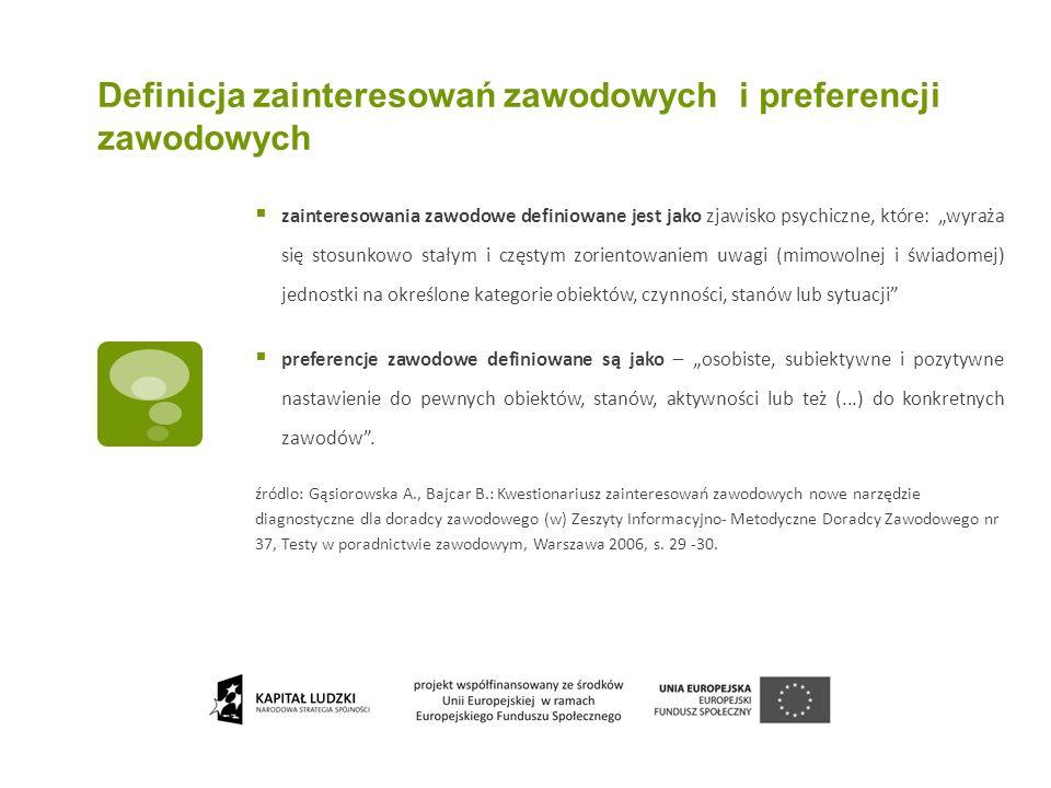 Definicja zainteresowań zawodowych i preferencji zawodowych zainteresowania zawodowe definiowane jest jako zjawisko psychiczne, które: wyraża się stos