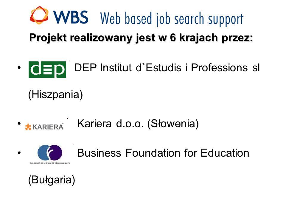 Projekt realizowany jest w 6 krajach przez: DEP Institut d`Estudis i Professions sl (Hiszpania) Kariera d.o.o.