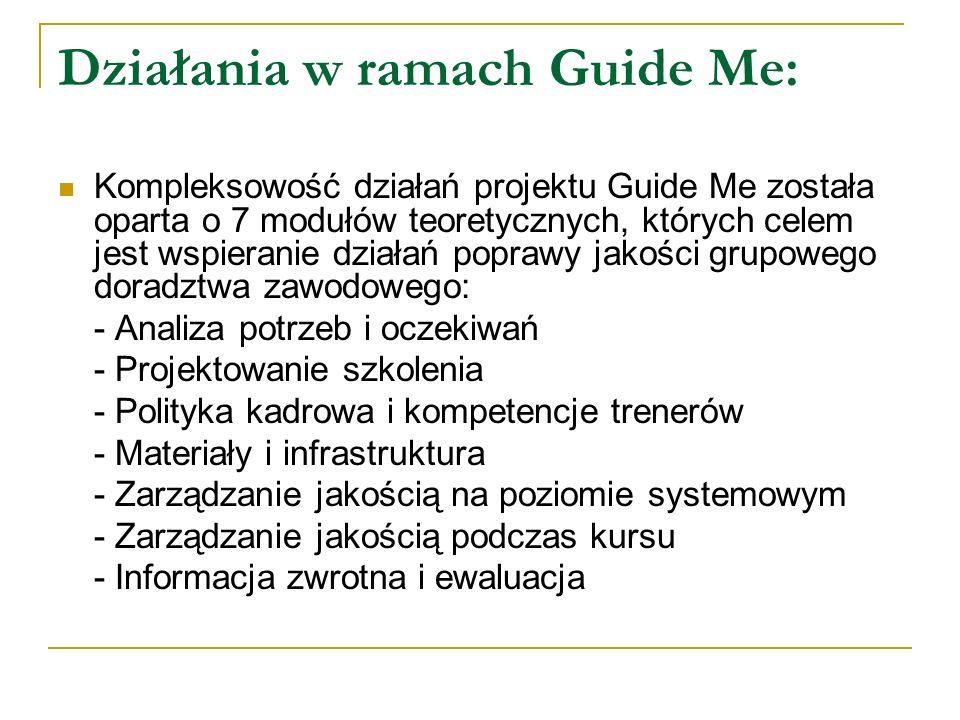 Działania w ramach Guide Me: Kompleksowość działań projektu Guide Me została oparta o 7 modułów teoretycznych, których celem jest wspieranie działań p