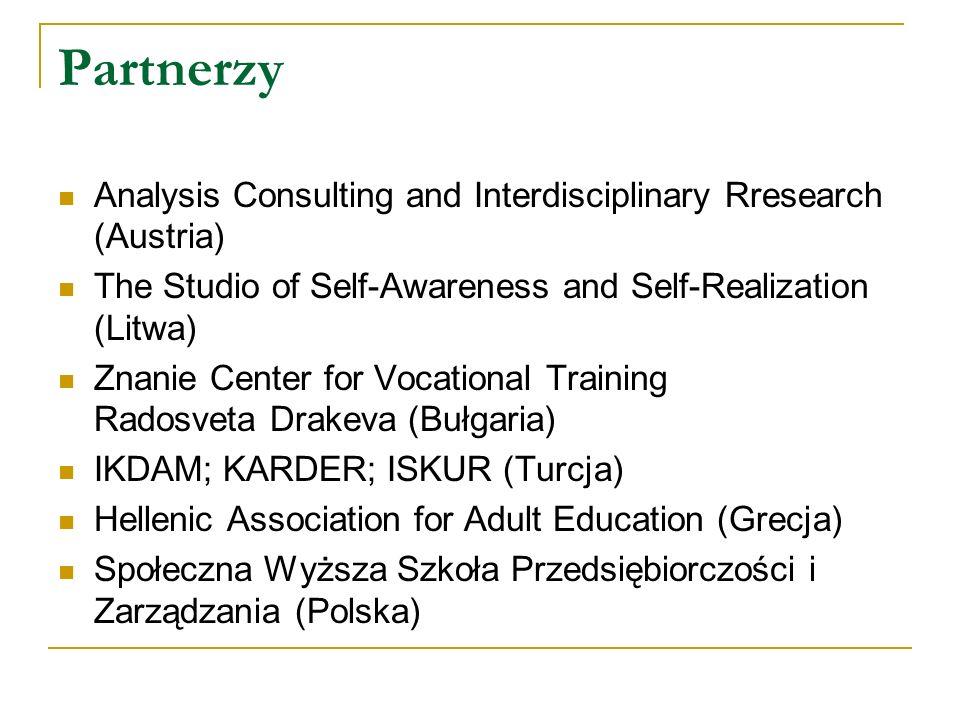 Główne cele projektu Guide Me: Doskonalenie narzędzi jakości doradztwa zawodowego Wdrożenie curriculum wypracowanego w ramach projektu QUINORA Opracowanie unijnych kryteriów jakości w doradztwie zawodowym oraz wdrożenie ich w nowych krajach partnerskich (Turcja, Grecja, Bułgaria, Litwa i Polska).