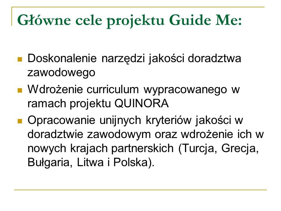 Główne cele projektu Guide Me: Doskonalenie narzędzi jakości doradztwa zawodowego Wdrożenie curriculum wypracowanego w ramach projektu QUINORA Opracow