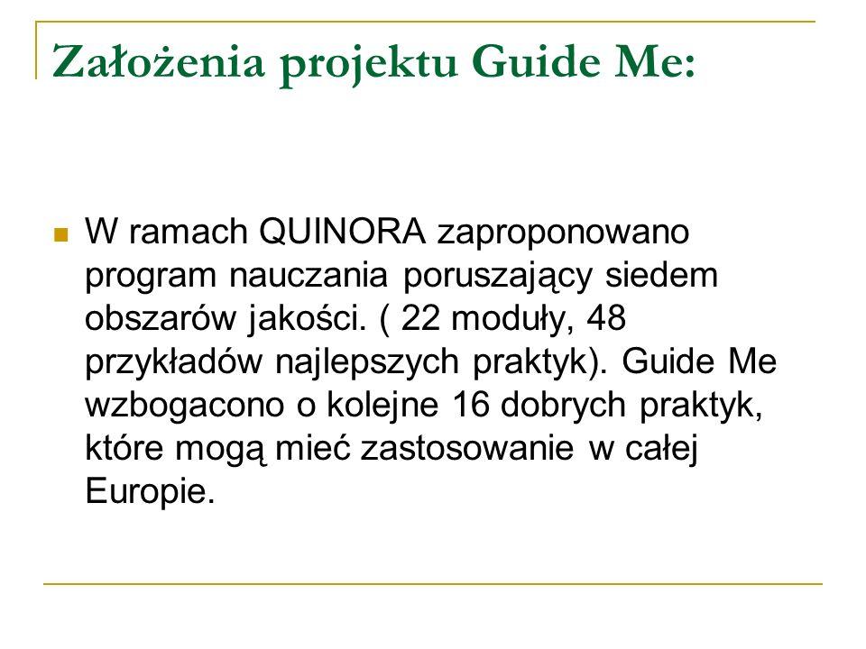 Założenia projektu Guide Me: W ramach QUINORA zaproponowano program nauczania poruszający siedem obszarów jakości. ( 22 moduły, 48 przykładów najlepsz
