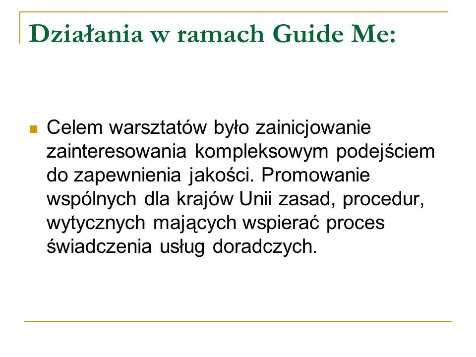 Działania w ramach Guide Me: Kompleksowość działań projektu Guide Me została oparta o 7 modułów teoretycznych, których celem jest wspieranie działań poprawy jakości grupowego doradztwa zawodowego: - Analiza potrzeb i oczekiwań - Projektowanie szkolenia - Polityka kadrowa i kompetencje trenerów - Materiały i infrastruktura - Zarządzanie jakością na poziomie systemowym - Zarządzanie jakością podczas kursu - Informacja zwrotna i ewaluacja