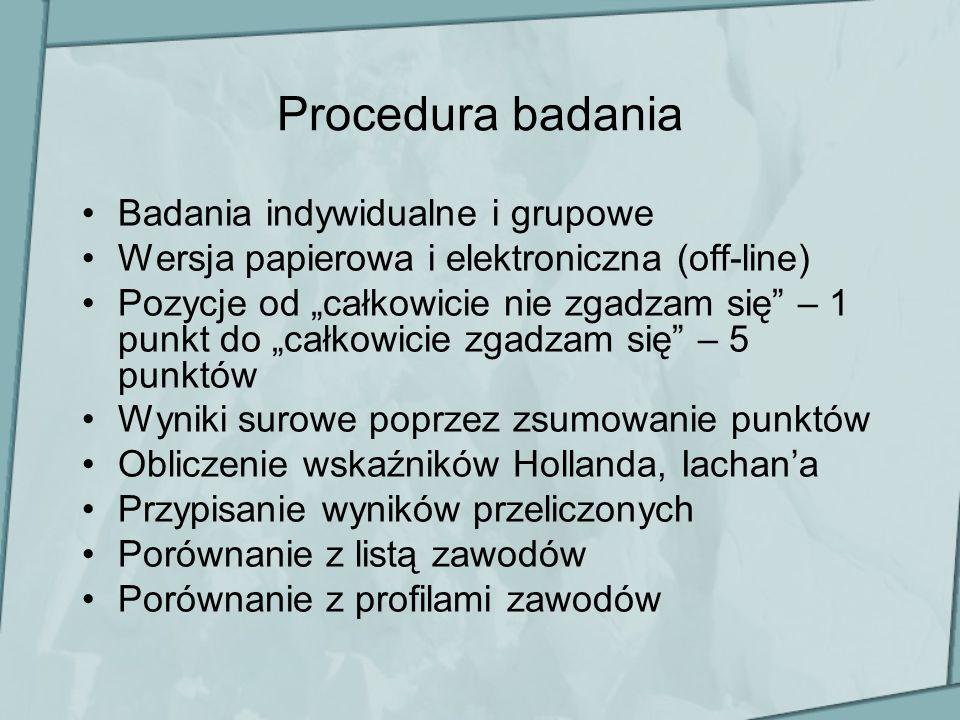 Procedura badania Badania indywidualne i grupowe Wersja papierowa i elektroniczna (off-line) Pozycje od całkowicie nie zgadzam się – 1 punkt do całkow