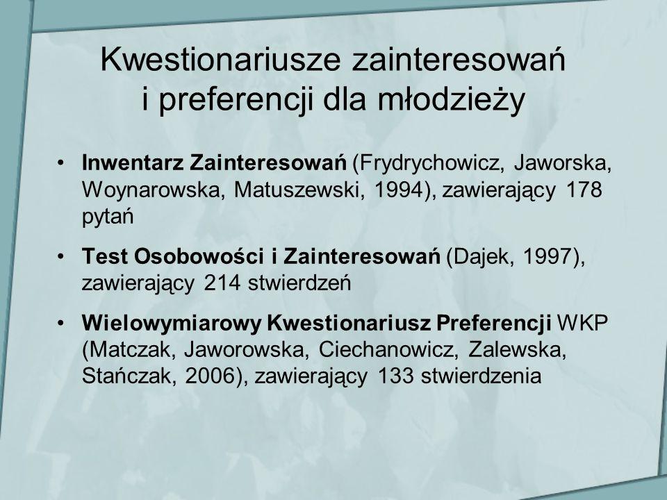 Kwestionariusze zainteresowań i preferencji dla młodzieży Inwentarz Zainteresowań (Frydrychowicz, Jaworska, Woynarowska, Matuszewski, 1994), zawierają