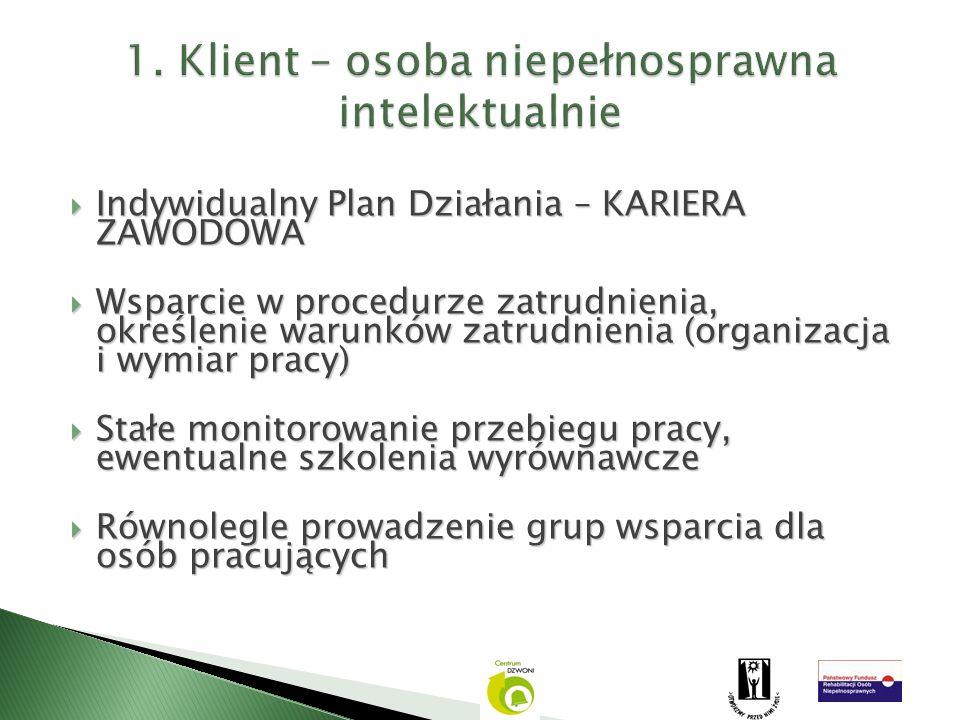 Indywidualny Plan Działania – KARIERA ZAWODOWA Indywidualny Plan Działania – KARIERA ZAWODOWA Wsparcie w procedurze zatrudnienia, określenie warunków