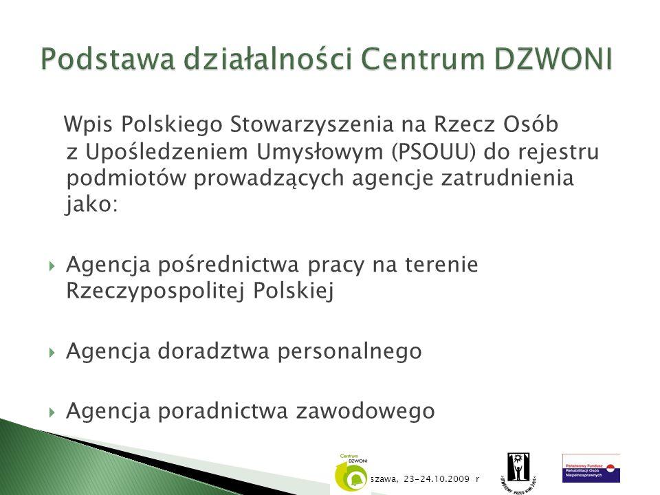 Wpis Polskiego Stowarzyszenia na Rzecz Osób z Upośledzeniem Umysłowym (PSOUU) do rejestru podmiotów prowadzących agencje zatrudnienia jako: Agencja po