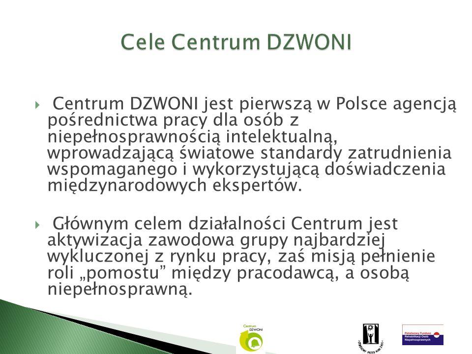 Centrum DZWONI jest pierwszą w Polsce agencją pośrednictwa pracy dla osób z niepełnosprawnością intelektualną, wprowadzającą światowe standardy zatrud