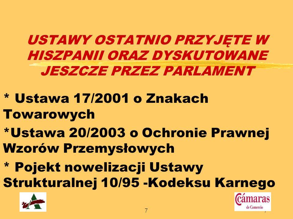 77 USTAWY OSTATNIO PRZYJĘTE W HISZPANII ORAZ DYSKUTOWANE JESZCZE PRZEZ PARLAMENT * Ustawa 17/2001 o Znakach Towarowych *Ustawa 20/2003 o Ochronie Praw