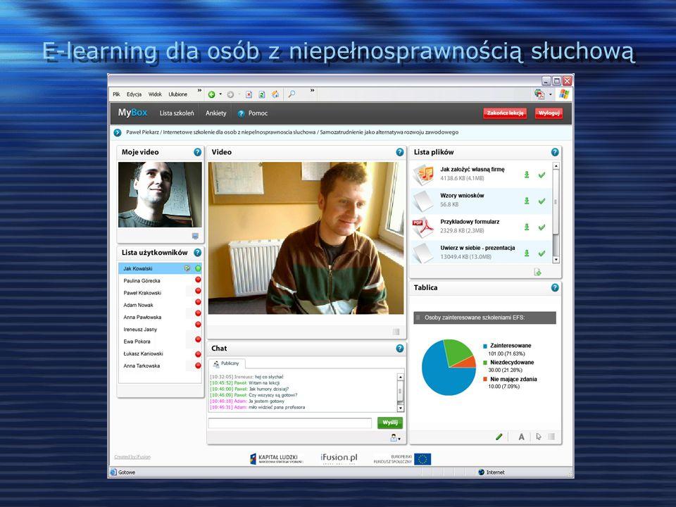 E-learning dla osób z niepełnosprawnością słuchową Materiały szkoleniowe