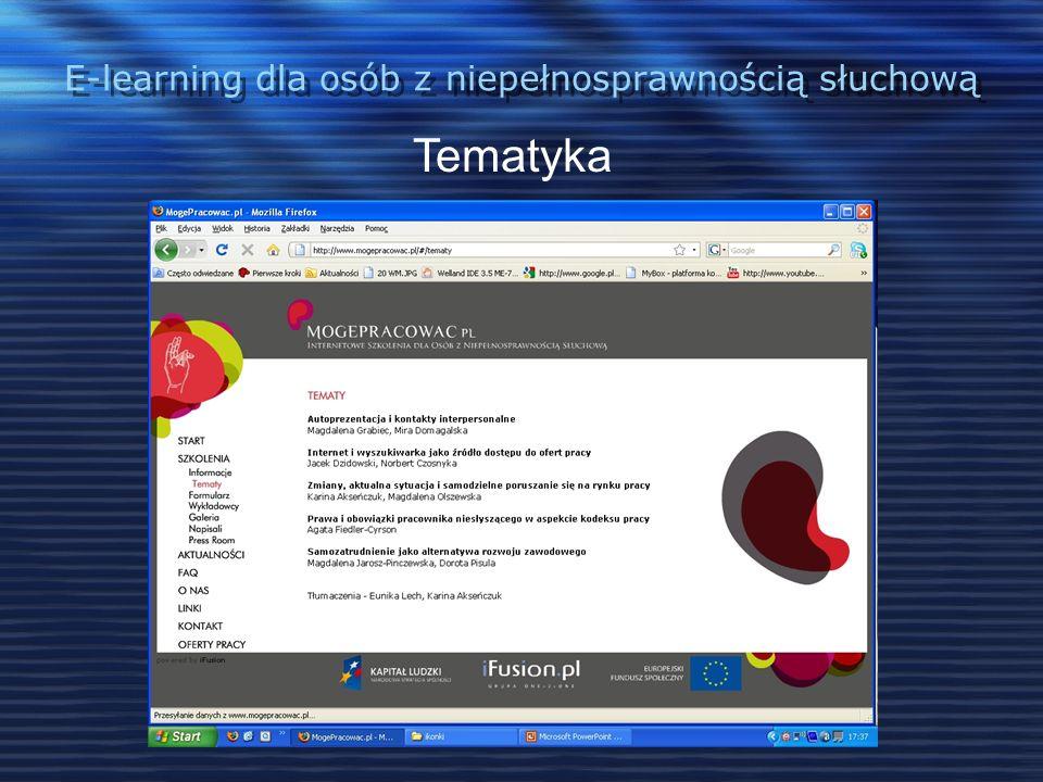 E-learning dla osób z niepełnosprawnością słuchową Realizacja