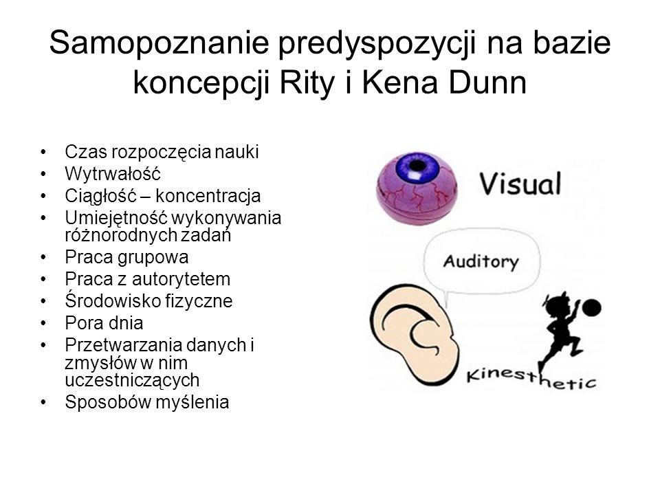 Samopoznanie predyspozycji na bazie koncepcji Rity i Kena Dunn Czas rozpoczęcia nauki Wytrwałość Ciągłość – koncentracja Umiejętność wykonywania różno