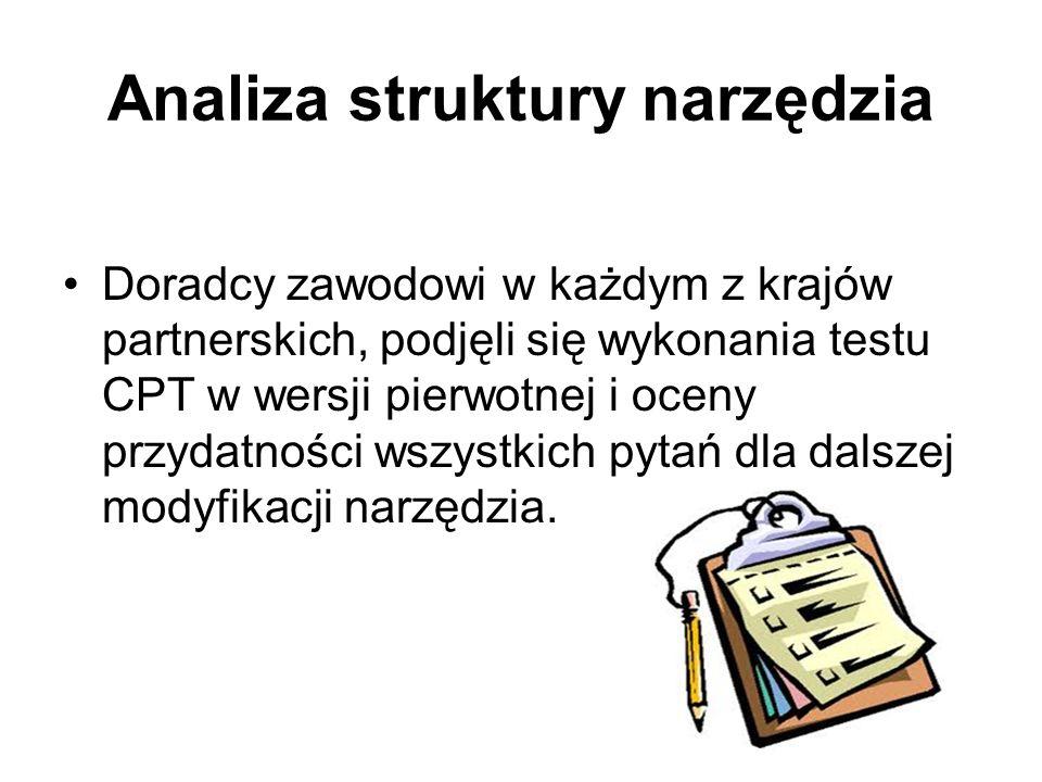Analiza struktury narzędzia Doradcy zawodowi w każdym z krajów partnerskich, podjęli się wykonania testu CPT w wersji pierwotnej i oceny przydatności