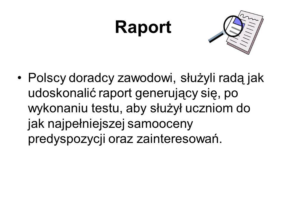 Raport Polscy doradcy zawodowi, służyli radą jak udoskonalić raport generujący się, po wykonaniu testu, aby służył uczniom do jak najpełniejszej samoo