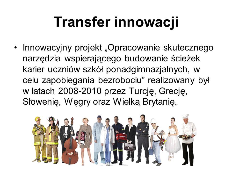 Transfer innowacji Innowacyjny projekt Opracowanie skutecznego narzędzia wspierającego budowanie ścieżek karier uczniów szkół ponadgimnazjalnych, w ce