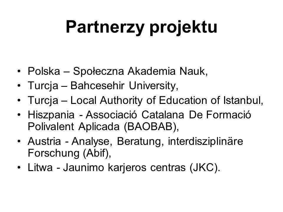 Partnerzy projektu Polska – Społeczna Akademia Nauk, Turcja – Bahcesehir University, Turcja – Local Authority of Education of Istanbul, Hiszpania - As