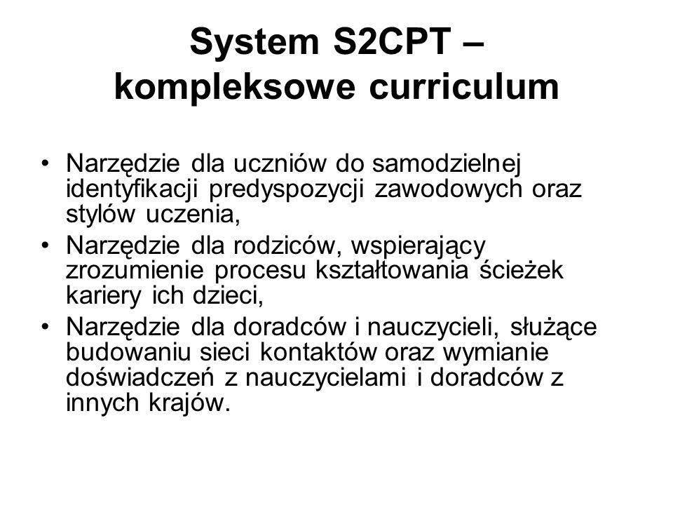 System S2CPT – kompleksowe curriculum Narzędzie dla uczniów do samodzielnej identyfikacji predyspozycji zawodowych oraz stylów uczenia, Narzędzie dla