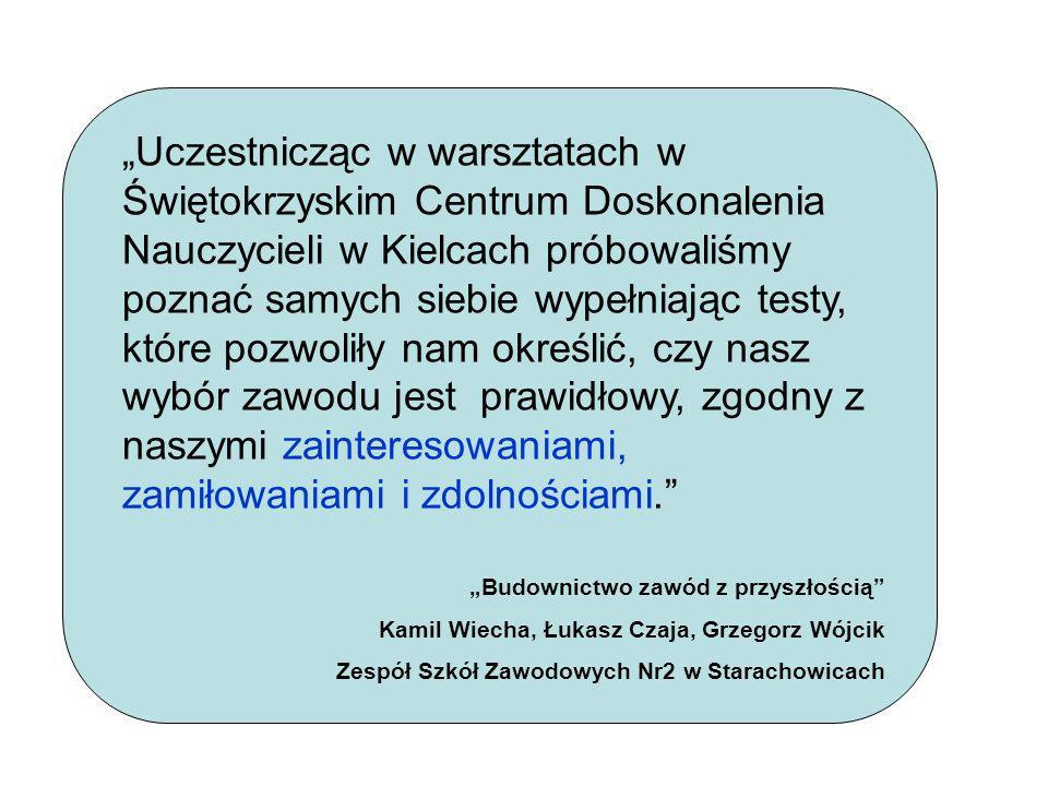 Uczestnicząc w warsztatach w Świętokrzyskim Centrum Doskonalenia Nauczycieli w Kielcach próbowaliśmy poznać samych siebie wypełniając testy, które poz